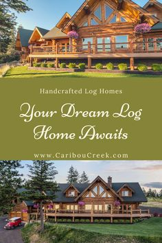 Browse through photos of custom built log homes. Including log post beam, chink style, Appalachian dovetail, Scandanavial Full-Scribe and more. Luxury Log Cabins, Log Cabin Homes, Timber Frame Homes, Timber House, Mountain Living, Mountain Homes, Log Homes Exterior, Log Home Builders, Log Home Designs
