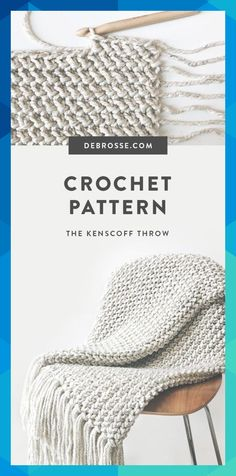 The Kenscoff Throw is a DeBrosse original featuring a unique herringbone texture created with a proprietary crochet method Finished size is 60 x 40 Crochet skill level I. Crochet Afghans, Crochet Blanket Patterns, Crochet Stitches, Knitting Patterns, Crochet Blankets, Knitted Throws, Easy Knitting, Knitting Yarn, Love Crochet