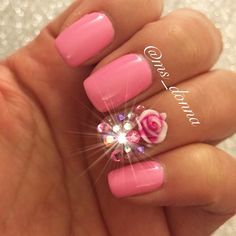 #ShareIG Finally had time to do my own nails. Super pink and super girly. That's all me right there lol. #mani #notd #nailart #ignails #belladonnanaildesigns #instanails #nailswag #nailporn #nails #nailartist