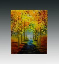 """""""Walk in the Fall"""" -- Fused Glass Landscape"""