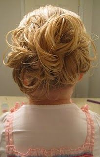 Vidoe of smart way to do a messy bun with long hair so the bun holds & doesn't sag - easy! (make ponytail, then semi-loose rope braid, pin tip of tail to base of pony then pull sections away & pin separately)