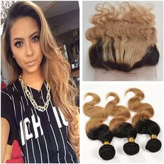 Hair Extensions & Wigs Guanyuhair #27 Honey Blonde Bundles Brazilian Body Wave 100% Remy Human Hair Weave 3 Bundles With Frontal Closure 13x4 With Traditional Methods Human Hair Weaves