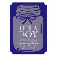 Any Color Mason Jar It's A Boy Announcement