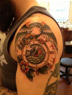 Eagle Old School Shoulder Tattoo by Black Cat Tattoos