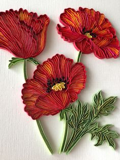 poppies quilling (this one not for beginners - will try it another time mt) - Crafting DIY Center
