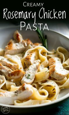 Chicken Pasta with Rosemary Cream Sauce. Juicy chunks of chicken stirred through pappardelle all coated in a rich rosemary cream sauce. This easy chicken pasta dish will be a firm favourite. Fancy Pasta Recipe, Fancy Dinner Recipes, Dinner Ideas For Guests, Fancy Meals, Dinner Dishes, Chicken Pasta Dishes, Rosemary Chicken, Rosemary Pasta Recipe, Rosemary Recipes