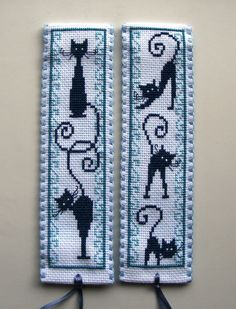 Vervaco cross stitch bookmarks-retro blue cats.