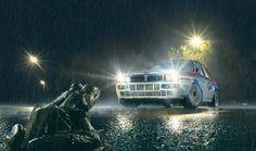 Lancia Delta HF Integrale Evoluzione. Frog night scene.