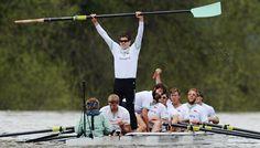 cambridge 7 seat holding oar in victory