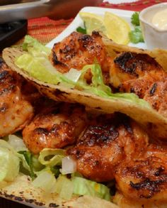Grilled Shrimp Tacos with a Zesty Cream Sauce - Hispanic Kitchen
