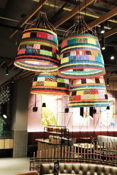 The perfect cluster of our handwoven Kalakala shades, featured at Nando's Cavendish, Cape Town. hand-crafted in Cape Town, South Africa using up-cycled waste fabric tat would have usually been discarded by the fashion industry. Car Part Furniture, Modern Furniture, Furniture Design, New Inventions, Cape Town, Industrial Style, Tat, South Africa, Design Art