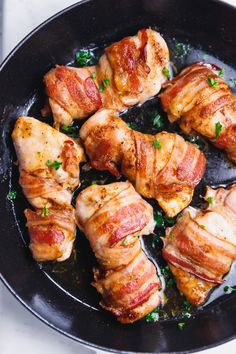 The Best Bacon Wrapped Chicken Thighs Recipe - quick, simple and delicious one pan weeknight meal. Low-carb and Keto, all you need to make these is - chicken thighs, bacon, seasoning and olive oil. Serve with a side dish of your choice. Easy Chicken Thigh Recipes, Oven Baked Chicken Thighs, Chicken Thights Recipes, Boneless Skinless Chicken Thighs, Chicken Wraps, Chicken Recipes, Keto Chicken, Oven Chicken, Healthy Chicken