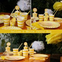 Yellow & White Party Box Party In A Box, Color Box, Table Decorations, Yellow, Food, Home Decor, Products, Decoration Home, Room Decor