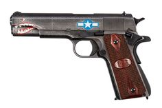 Auto-Ordnance expands its custom 1911 selection with a new commemorative pistol — the Squadron. Ww2 Fighter Planes, Fighter Aircraft, Kahr Arms, 1911 Pistol, Colt 1911, Revolver, Shark Mouth, Custom 1911, Shooting Gear