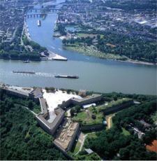 Blick auf Festung Ehrenbreitstein und Deutsches Eck - Foto: Frey Pressebild