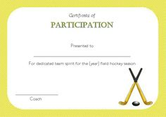 Hockey Certificate Of Parion Templates Players