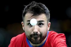 William Bayley of Great Britain in action against Israel Pereira Stroh of Brazil during  the prelimimary round of the Men's's Table Tennis on day 1 of the Rio 2016 Paralympic Games at  on September 8, 2016 in Rio de Janeiro, Brazil.