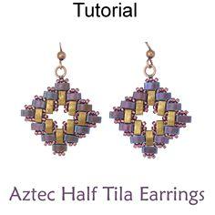Jewelry Making Beading Tutorial Pattern - Square Diamond Earrings - Miyuki Half Tila Beads - Simple Bead Patterns - Aztec Half Tila Earrings Aztec Earrings, Beaded Earrings Patterns, Bead Earrings, Beading Patterns, Beaded Jewelry, Handmade Jewelry, Beaded Bracelets, Diamond Earrings, Color Patterns