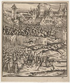 Artist: Hans Burgkmair (German, Augsburg Augsburg) Engraver: Jost de Negker The Battle Near Teramundt (Teremonde), from Der Weisskunig Vintage Wall Art, Vintage Walls, Medieval Drawings, Maximilian I, Landsknecht, Renaissance Art, Antique Prints, Illuminated Manuscript, Middle Ages
