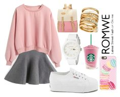 """sweatshirt by romwe"" by laurencia-813 on Polyvore featuring Superga, H&M, Lacoste, Casetify, white, Pink, romwe, Sweatshirt and collection"