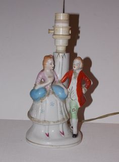 Vintage 'Foreign' Marked Table Lamp Featuring French Courting Couple - Untested