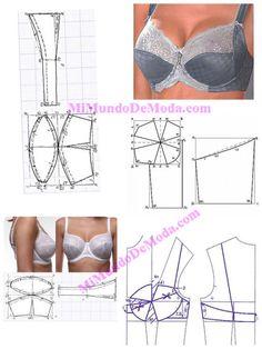 Rintaliivit - Her Crochet Underwear Pattern, Lingerie Patterns, Sewing Lingerie, Jolie Lingerie, Corset Sewing Pattern, Bra Pattern, Dress Sewing Patterns, Clothing Patterns, Fashion Sewing