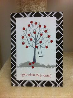Handmade Valentines card. Sheltering Tree with Red by ladymajik