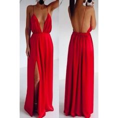 Sexy Red Deep V-neck Spaghetti Strap Backless Maxi Dress Prom Dresses