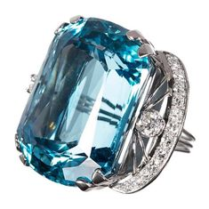 Important 86.35 Carat Santa Maria Aquamarine Diamond Ring