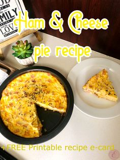 "Are you looking for a delicious starter meal idea? Or a savory breakfast slice to have with a cup of coffee or tea? Or even a yummy lunch idea next to a healthy garden salad! Well, look no further! This ham & cheese pie will be perfect for any one of these! The ""crust"" is soft like a sponge and the filling is rich and delicious!"