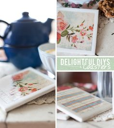 These fun little coasters are great because they are so YOU, decorate with music sheets, scrapbook paper or even artwork.