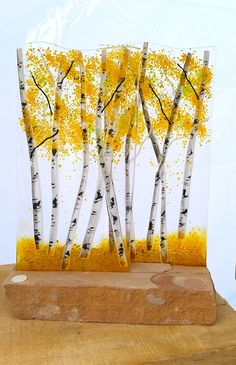 Aspen Fused Glass Dimensional Sculpture with Stone Base