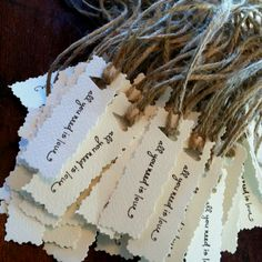 Wedding napkin rings, perfect for a rustic wedding. Love the twine and heart and fancy edges