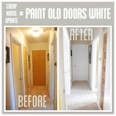 Cheap House Update= Paint Old Doors White