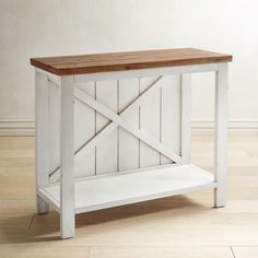 Farmhouse console - its weathered-look top and whitewashed wooden design work practically anywhere. Use it as a showcase for accessories in your entryway, extra storage in your kitchen or bathroom or a bookcase in the living area. Diy Garden Furniture, Country Furniture, Farmhouse Furniture, Wood Furniture, Living Room Furniture, Lounge Furniture, Furniture Online, Discount Furniture, Furniture Ideas