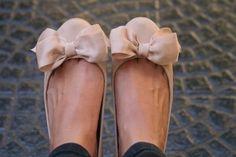 ballerinas, beige, bow, cute, flats
