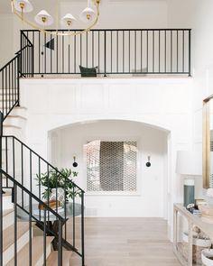 Remodel Modern Traditional Home Entryway Transformation Home Renovation, Home Remodeling, Modern Traditional, Traditional House, Studio Mcgee, Stair Railing, Railings, Black Railing, Banisters