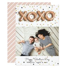 XOXO Rose Gold Balloons | Valentine's Day Photo Card - cool gift idea unique present special diy