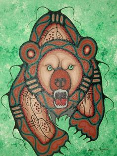not sure i would get it as a tattoo but its angry n for some reason I like that Native American Artists, Native American Indians, Kunst Der Aborigines, Haida Art, Canadian Art, American Indian Art, Bear Art, Indigenous Art, Aboriginal Art