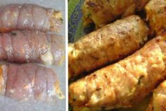 Рулетики «Боярские» из куриной грудки Chicken Recepies, Russian Recipes, Sausage, Bacon, Food And Drink, Cooking Recipes, Meals, Vegetables, Recipes
