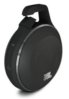 JBL Clip.  This bluetooth wireless speaker was built for durability & designed with an integrated carabiner clip, making it easier to hang up, clip on, & carry around with you. Available in black and 4 other colors.