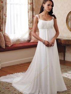 White Beaded Empire Waist Chiffon Wedding Dress