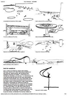O processo de criação de Oscar Niemeyer através de croquis e de textos. Oscar Niemeyer, Presentation, Architecture Sketches, Woods, Canon, Buildings, Concept, Shapes, Drawing