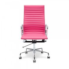 Love this awesome Eames style pink ribbed office chair.