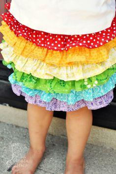 Funky Polkadot Giraffe: Rainbow Ruffle Skirt