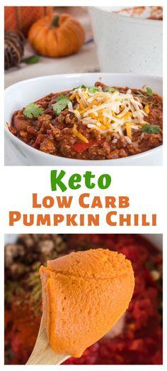 Really yummy pumpkin low carb keto chili. Great for fall recipes. Really yummy pumpkin low carb keto chili. Great for fall recipes. Keto Chili Recipe, Chili Recipes, Soup Recipes, Diet Recipes, Healthy Recipes, Slimfast Recipes, Dessert Recipes, Paleo Fall Recipes, Quail Recipes