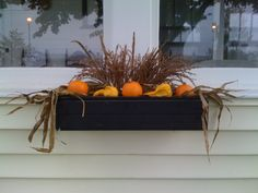 42 Cheap and Easy Fall Window Boxes Ideas - decortip Fall Window Boxes, Window Box Flowers, Flower Boxes, Fall Harvest, Harvest Time, Autumn Fall, Autumn Ideas, Holiday Ideas, Outdoor Christmas Decorations