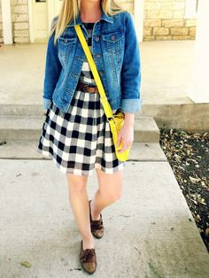 Casual Spring: Denim jacket, checkered dress, pop of yellow and oxfords for fun.