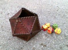 Items similar to 20 sided leather dice cup on Etsy Nerd Crafts, Diy Crafts, Small Leather Goods, Real Leather, Sewing Leather, Leather Crafting, Dice Bag, Leather Tooling, Leather Bags