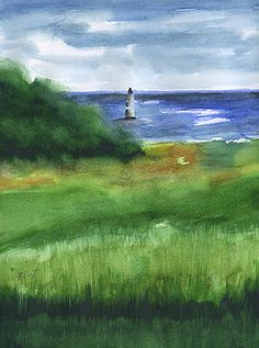 Cockspur Island Lighthouse by Frank Bright - Watercolor